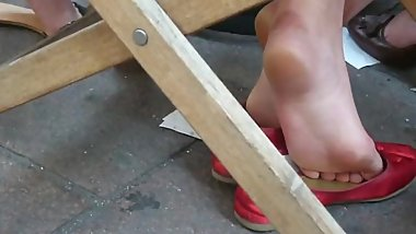 candid teen soles in red flats
