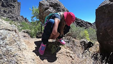 PISS PISS TRAVEL - Young girl tourist peeing in the mountains Gran Canaria
