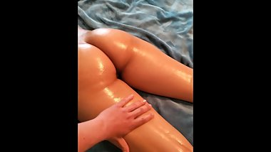 Oiled Up Latina Massage and Creampie