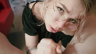 Eye Contact Blowjob Glasses Babe Pov