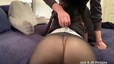 Jill gets a long hard wedgie in a white thong and see-thru leggings!