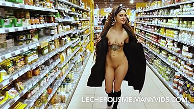 Eyra in the Supermarket - Flashing and Naked in Public