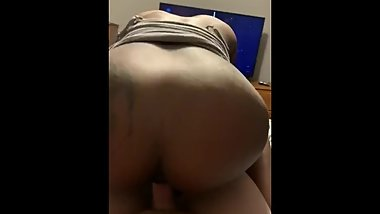 Tight Black Teen Pussy Cums on a White Cock