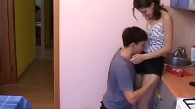 Petite elder sister fucked in kitchen