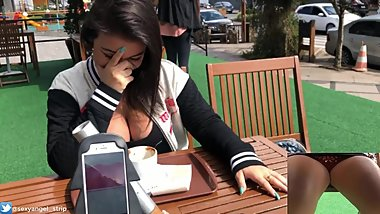 Public female orgasm interactive toy beautiful face agony torture