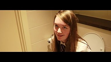 British Schoolgirl Pissing on the Toilet