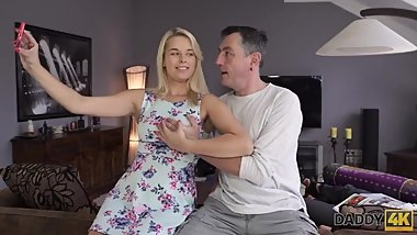 DADDY4K. Daddy fucks mouth and pussy of brilliant son's girlfriend