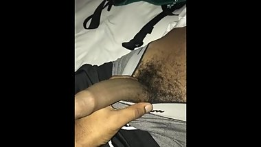 Playing with Straight Cousin's big uncut dick while he Sleeps