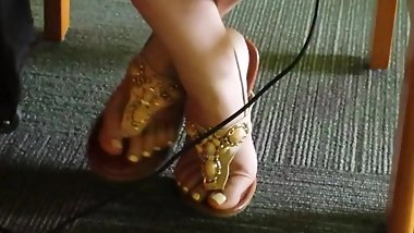 Candid Feet in library