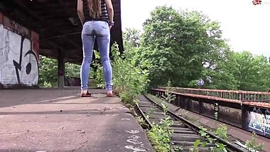 Pissing her Pants at the Train Station