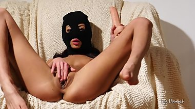 Liza Diamond is masturbating with a big dildo and fingering her ass. MASKED