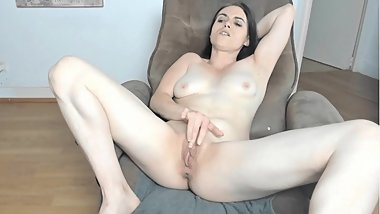 Horny French Brunette Fingers her Clit