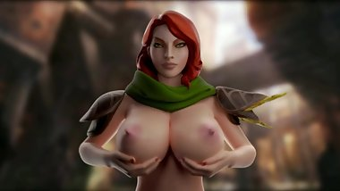 Windranger playing with her boobs