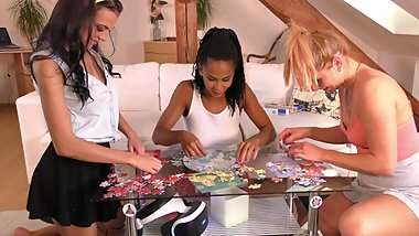 3 Girls in Short Flirty Skirts;Jenga Time with Eva;Chrissy and Isabel 4K