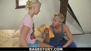 Extreme hard and rough baning for his blonde GF