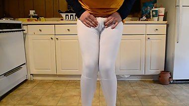 Desperate Sissy Wets Sport Leggings (With Diaper!)