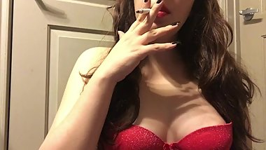 Hot Teen Smoking White Filter 100 Long Cigarette in Sexy Red Bra - Big Tits