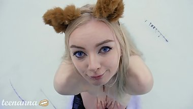 Russian teen fox outside blowjob winter forest