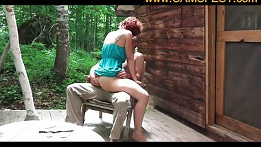 hot couple shaging at their cabin in the woods