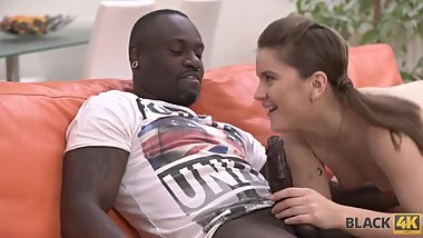 BLACK4K. Huge dick of new black friend makes white babe moan loudly