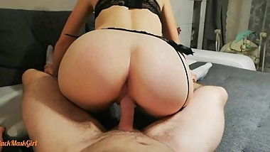 Blonde Teen Gives Footjob in Stockings and Rides Reverse Cowgirl