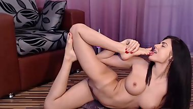 Horny girl with perfect body gives pleasure herself