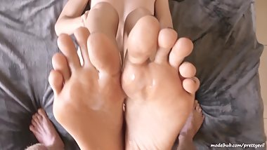 Beautiful PrettyEvil feet soles covered in cum. Hot amateur POV footjob 4k