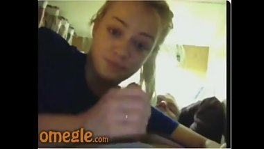 Omegle Cute girl playing with dick
