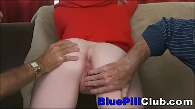 Teen Slut Sucks & Fucks Two Old Grandpas After Dildoing