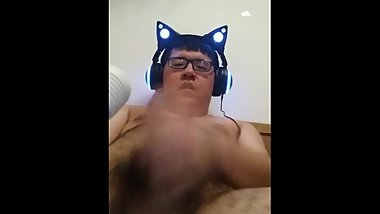 Chinese boy cat ear headphones Masturbation