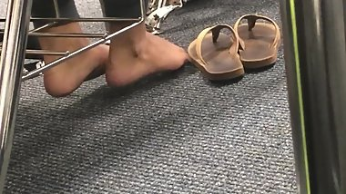 Marayah's Candid Sexy Classroom Teen Feet in Rainbow Flip Flops Part 3