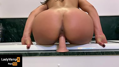 Perfect Ass Bouncing on the Dildo! by LadyVampx