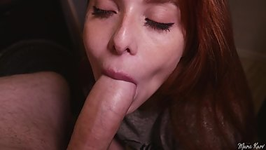 Redhead girlfriend the best blowjob ever and then swallow ALL my cumshot