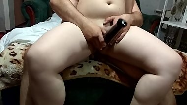 I sit on the penis and masturbate with a vibrator