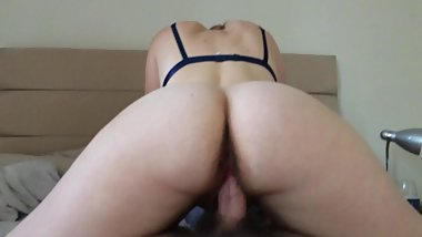 pawg girlfriend bounces ass on cock in reverse cowgirl