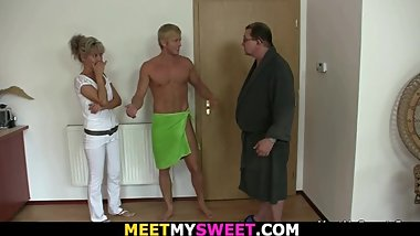 Guy finds his blonde GF gets fucked by perverted old parents