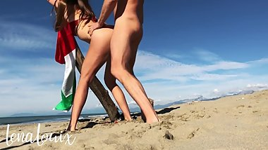 Passionate couple fucks on Italian public beach (FULL SCENE) - LenaLouix
