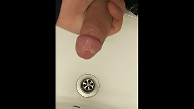 Cumming in the sink at work