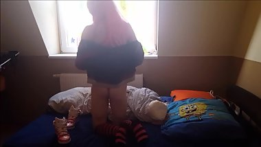 cosplay teen style crossdresser with new biiiig pink dildo