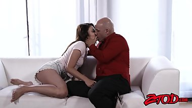 Stepdaughter Adria Rae drilled and slurping cumshot