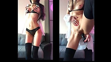 Hot Brunette Amateur Teen Striptease and Hard Fucks Herself Black Dildo