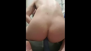 Teen boy plays with dildo and cums