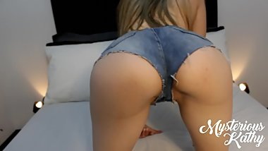 Perfect Round Ass In Tight Denim Shorts