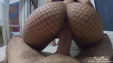 Fishnets Legging Teen With Perfect Body Sucks and Fucks